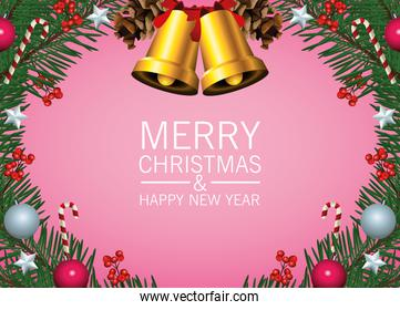 happy merry christmas lettering card with golden bells and ball in wreath