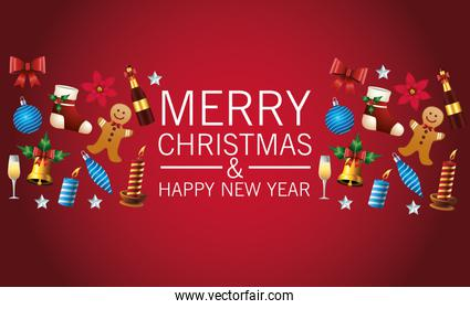 happy merry christmas lettering card with set icons pattern