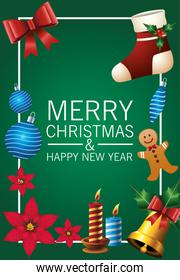 happy merry christmas lettering card with golden bell and icons