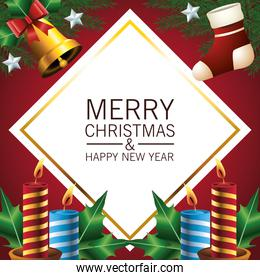 happy merry christmas lettering card with golden bell and candles