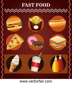 bundle of nine delicious fast food menu and lettering