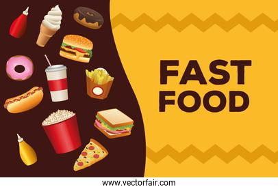 bundle of delicious fast food menu and lettering