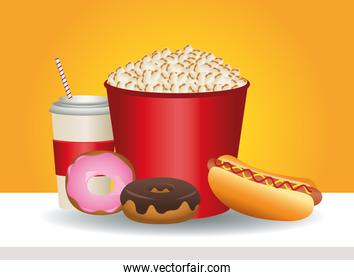 delicious pop corn and fast food icons