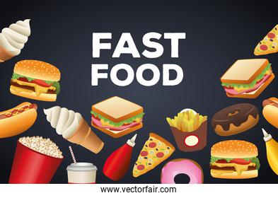 bundle of delicious fast food menu and lettering in black background