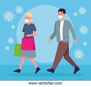 persons couple wearing medical mask walking