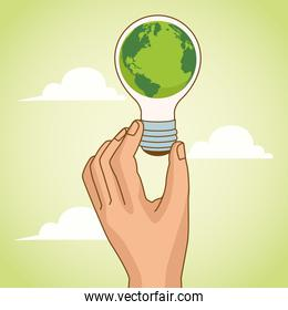 save the world environmental poster with hand lifting earth planet in bulb