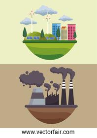 save the world environmental poster with eco city and factory polluting