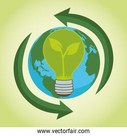 save the world environmental poster with earth planet and bulb