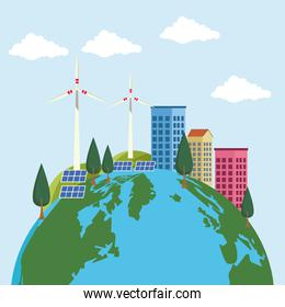 save the world environmental poster with earth planet and city buildings
