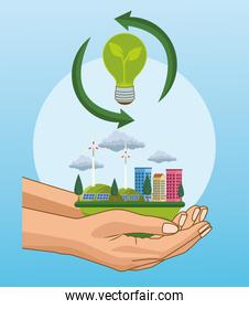 save the world environmental poster with hands lifting cityscape and landscape