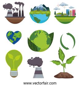 save the world environmental poster with bundle icons