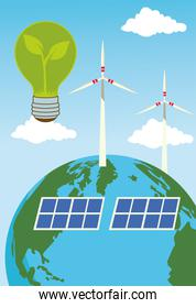 save the world environmental poster with earth planet and energy production