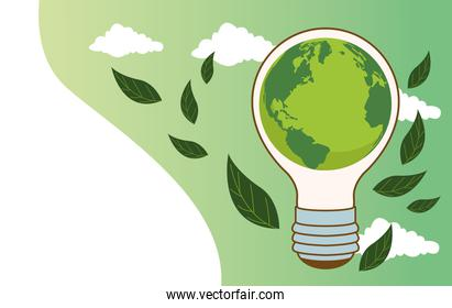 save the world environmental poster with earth planet in bulb and leafs