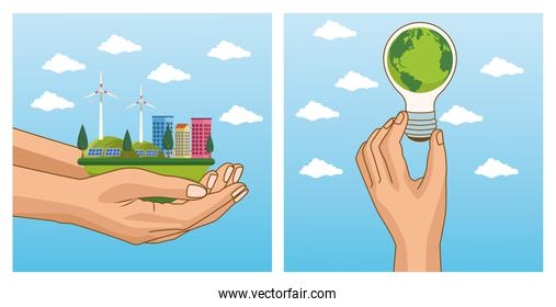save the world environmental poster with hands lifting cityscape and bulb