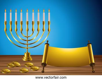 happy hanukkah celebration card with candelabrum and patchment