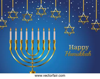 happy hanukkah celebration card with candelabrum and stars hanging