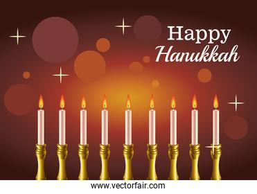 happy hanukkah celebration card with candelabrum and lettering