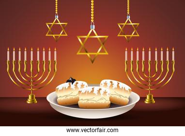 happy hanukkah celebration card with food and chandeliers