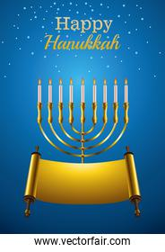 happy hanukkah celebration card with golden candelabrum and patchment