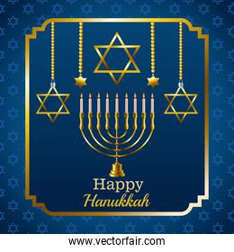 happy hanukkah celebration card with candelabrum and stars in square frame