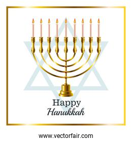 happy hanukkah celebration card with candelabrum and star in square frame