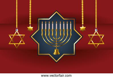 happy hanukkah celebration card with candelabrum in star and stars hanging