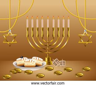 happy hanukkah celebration card with candelabrum and golden coins
