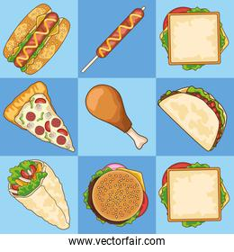 bundle of nine delicious fast food in blue background