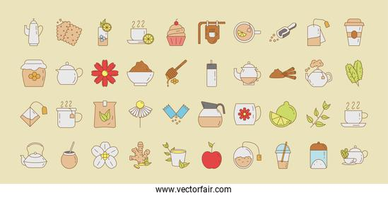 bundle of forty tea set fill style icons