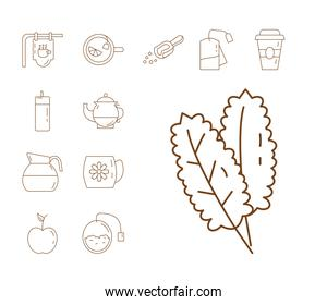 mint leafs and bundle of tea set line style icons