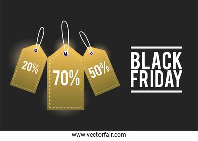 black friday sale poster with golden tags