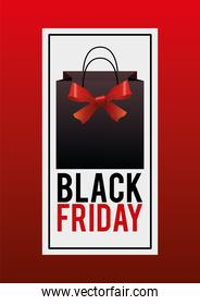 black friday sale poster with shopping bag and red ribbon