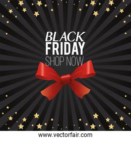 black friday sale poster with red ribbon bow