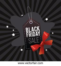 black friday sale poster with tag hanging and ribbon bow