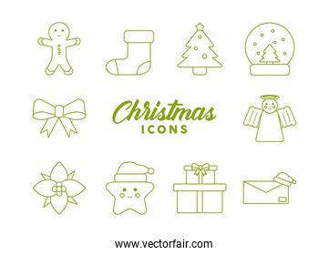 lettering and bundle of merry christmas line style icons