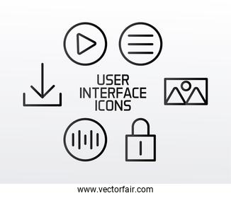six of user interface set line style icons