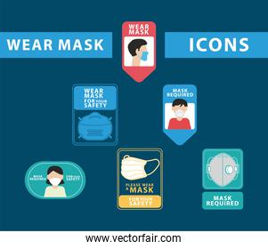 bundle of six wear mask advertise and lettering labels