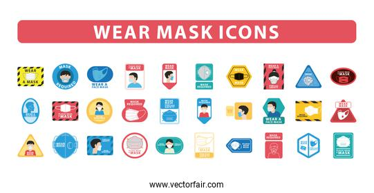 bundle of thirty wear mask advertise labels