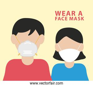 couple wearing face mask characters