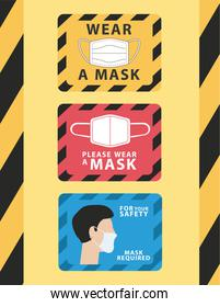 bundle of three wear mask advertise labels