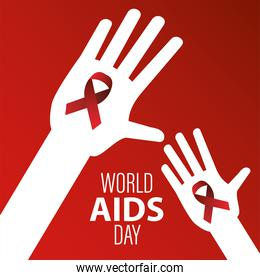 world AIDS day lettering with red ribbons in hands humans