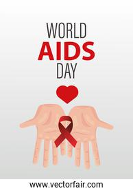 world AIDS day lettering with hands lifting red ribbon and heart