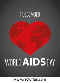 world AIDS day lettering with red heart earth