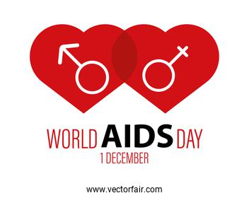 world AIDS day lettering with red hearts and genders symbols