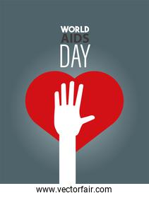 world AIDS day lettering with red heart and hand up