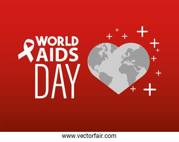 world AIDS day lettering with ribbon and heart earth map