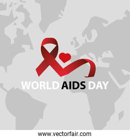 world AIDS day lettering with red ribbon and heart in earth map