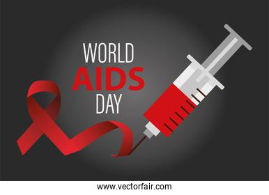 world AIDS day lettering with red ribbon and injection