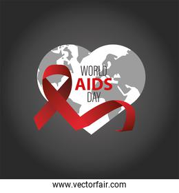 world AIDS day lettering with red ribbon in heart earth map