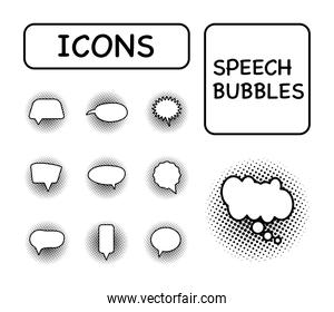 bundle of ten speech bubbles isolated icons